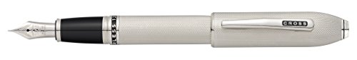 Cross Peerless 125 Platinum Plate Fountain Pen with Medium Rhodium Plated Solid 18KT Gold Nib