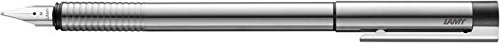 Lamy Unisex Logo Steel Nib Cylical Matte Stainless Steel Fountain Pen - Silver - Broad Nib