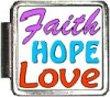 Faith Hope Love Italian Charm Bracelet Link