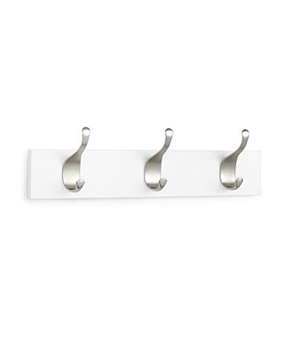 AmazonBasics Wall Mounted Modern Coat Rack, 3 Hooks, Set of 2, White (White Modern Hook)