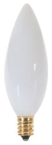Satco A3689 130V Candelabra Base 40-Watt B9.5 Light Bulb, White by Satco 130v B9.5 Candelabra