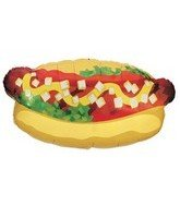 Hot Dog Decorations (Betallic Hotdog Shape Foil Balloon Size  32 Inches)