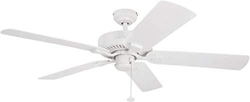 Honeywell Belmar 52-Inch Indoor/Outdoor Ceiling Fan, Five Damp Rated Fan Blades, White