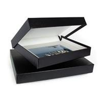 Archival Methods Onyx 12x16x2'' Portfolio Box, 12.75x16-5/8'', Black Buckram / White Lining.
