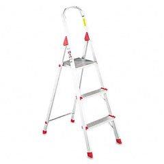 #566 Three Foot Folding Aluminum Euro Platform Ladder, Red, Sold as 1 Each