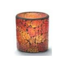Hollowick Red and Gold Frosted Crackle Glass Votive Lamp, 3 1/4 x 3 x 3 inch - 1 each.