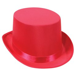 [Satin Sleek Top Hat (pink) Party Accessory  (1 count)] (Pink Top Hats)