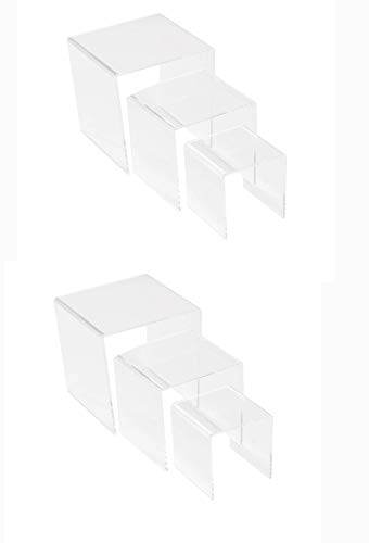 BYCY Clear Acrylic Riser Display Stands Acrylic risers for Cosmetics, Small Toys and Jewels Including 6 pcs per Set(2 Sets 3