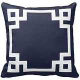 Generic Decorative Throw Pillow Case Cushion Cover Navy Blue and White Greek Key Border Pillow Cases 18 x 18 Inches (Navy Blue And White Throw Pillows)