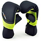 MaxxMMA Neoprene Washable Heavy Bag Gloves - Boxing Punching Training (Neon Yellow, L/XL)