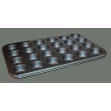 Winco Tin Plate 24 Cup Non Stick Mini Muffin Pan, 13 3/4 x 10 1/2 inch - 1 each.