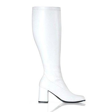 Funtasma by Pleaser Women's GOGO-300WC Block Heel Wide Width White (Pleaser Go Go Boots)