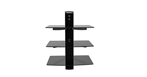 QualGear Universal Triple Shelf Wall Mount for A/V Components Upto 8kgs/17.6lbs(x3), Black - Mount Component Wall