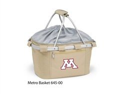 Picnic Time 645-00-190-362-0 University of Minnesota Embroidered Metro Picnic Basket, Beige by PICNIC TIME