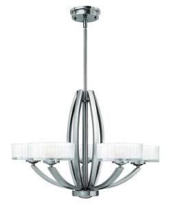 Hinkley 3875BN Transitional Five Light Stem Hung Chandelier from Meridian collection in Pwt, Nckl, B/S, - Chandelier Lighting Contemporary Hinkley
