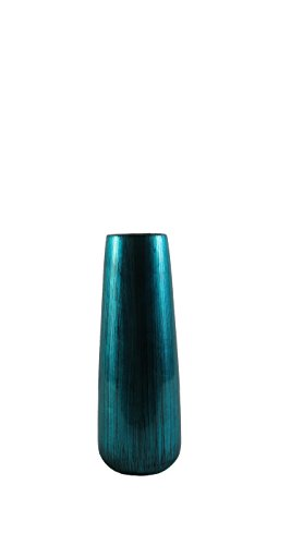 """Firefly Home Collection Glossy Ceramic Vase, 4.75 x 4.75 x 11.75"""", Turquoise"""