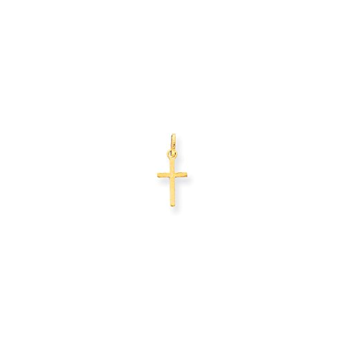 ICE CARATS 14kt Yellow Gold Small Cross Religious Pendant Charm Necklace Latin Fine Jewelry Ideal Gifts For Women Gift Set From Heart (New 14kt Yellow Gold Cross)