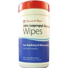 Pharma-C-Wipes 70% Isopropyl Alcohol Wipes, First Aid Antiseptic to Help Prevent the Risk of Infection in Minor Cuts, Scrapes and Burns (6 Canisters of 40 Wipes, 240 Wipes Total)