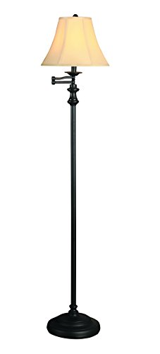 Catalina 18231-001 Swim Arm Floor Metal Swing Arm Floor Lamp with Faux Silk Bell Shade, Oil Rubbed (Catalina Arm Chair)