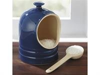 CHEFS Stoneware Salt Keeper/Pig with Spoon: blue