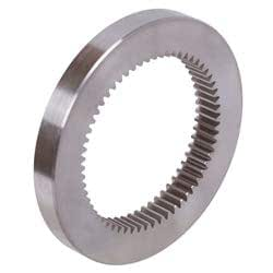 Spur gear made of steel C45 with hub module 3 20 teeth tooth width 30mm outside diameter 66mm