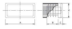 Embout plastique NOIR pour tube rectangulaire 35x20mm