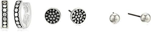 Napier Women's Casual Silver Stud Hoop Trio Earrings
