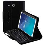 (Detachable Keyboard Case for Samsung Galaxy Tab E SM-T560 9.6 Tablet Slim Leather Magnetic Removable Wireless Bluetooth Keyboard Smart Cover Protective Stand Book Folio Multiple Angle)