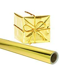 Angel Crafts Gift Wrapping Paper 26 in. x 25 FEET Roll - Premium Thick Shiny Metallic Deco Wrap Foil for Presents, Origami, Weddings, Embossing - Gold