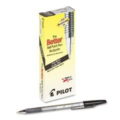 Pilot Better Ball Point Stick Pen, Black Ink.7mm, Dozen