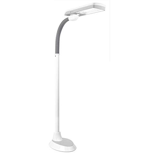 OttLite 36 Watt Pivoting Shade Floor Lamp with 2 Brightness Settings and Flexible Neck, White