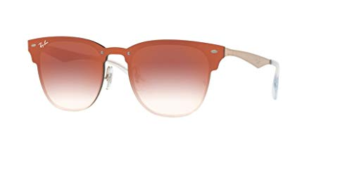 Ray-Ban RB3576N BLAZE CLUBMASTER 9039V0 47M Brushed Copper/Clear Gradient Red Mirror Sunglasses For Men For Women