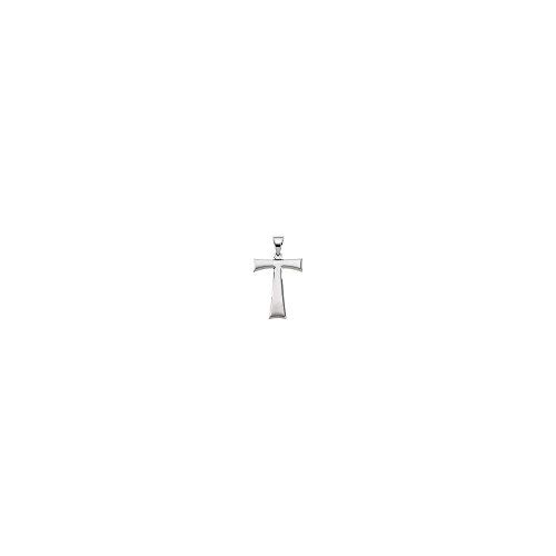 14K White Gold 19X16mm Tau Cross Pendant with Packaging
