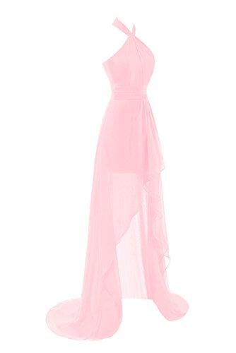 Dasior Women's Halter Backless High Low Chiffon Cocktail Bridesmaid Dress US8 Blushing Pink