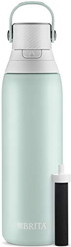 Price comparison product image Brita 20 Ounce Premium Filtering Water Bottle with Filter - Double Wall Insulated Stainless Steel Bottle - BPA Free - Glacier and Assorted Colors