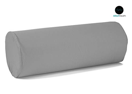 Round Cervical Roll Bolster Pillow Cushion with Removable Washable Cover, Ergonomically Designed for Head, Neck, Back, and Legs    Ideal for Spine and Neck Support During Sleep, Gray from All Sett Health