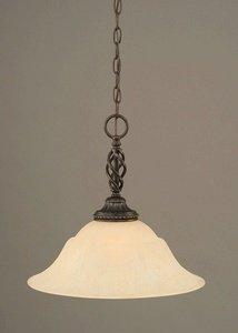 Toltec Lighting 82-DG-53613 Elegante One-Light Pendant Dark Granite Finish with Amber Marble Glass Shade, (Amber Marble Ceiling Lighting)