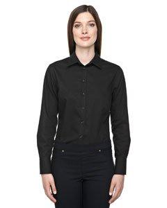 Boulevard Wrinkle-Free Women's Two-Ply 80's Cotton Dobby Taped Black 703 Dress Shirt With Oxford Twill XXL