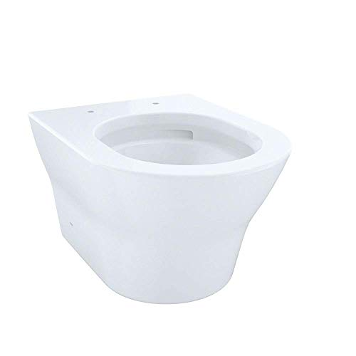 Toto CT437FG#01 MH Wall-Hung D-Shape Dual-Flush 1.28 and 0.9 GPF Toilet Bowl with CeFiONtect, Cotton