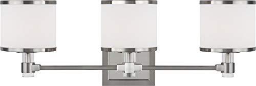 Feiss VS24373SN-L1 Winter Park LED Bathroom Vanity Light Fixture, Satin Nickel 3-Light (23