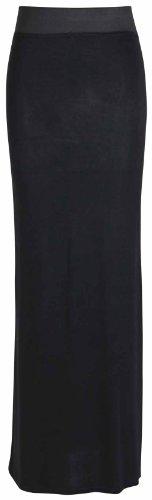 Negro Cintura Larga Contraste Verano Para Con Recta En Elástica Y Lisa Mujer Falda An0w7Rqw