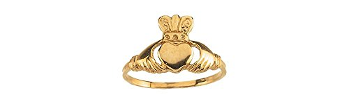 14K Yellow Gold Youth Claddagh Ring Size 6
