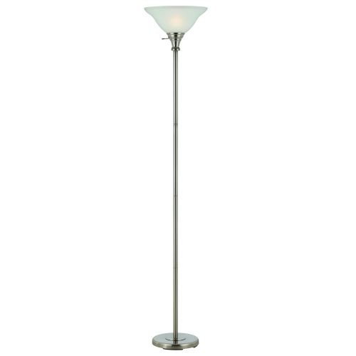 Cal Lighting BO-213-BS Floor Lamp with Frosted Glass Shades, Brushed Steel Finish by Cal