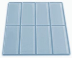 Frosted Sky Blue Glass Subway Tile 1 sq.ft. (Eight 3