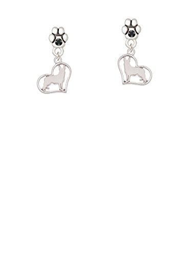 German Post - German Shepherd Silhouette Heart - Black Crystal Paw Earrings