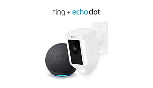 Ring Spotlight Cam Mount HD Security Camera (White) and Echo Dot (4th Gen)