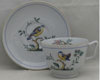 Spode Queen's Bird (Fine Stone, Older) London Shape Footed Cup & Saucer Set (Queens Spode)