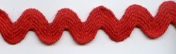 - Cotton Ric Rac Ribbon - Jumbo Size - Red - 5 Yards