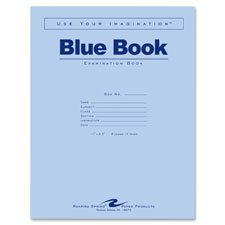Exam Book, Wide Ruled, 8 Shts, 11''x8-1/2'', 50/PK, Blue, Sold as 1 Package, 50 Each per Package