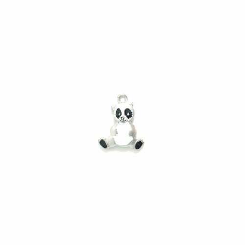 Shipwreck Beads Pewter Epoxy Black and White Panda Bear Charm, Silver, 19 by 23mm, 2-Piece